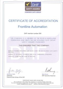 Certificate of Accredidation - DHF